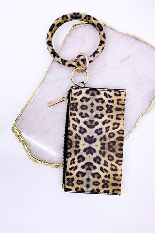 "Lively ""Leather"" Keychain & Clutch - Leopard"