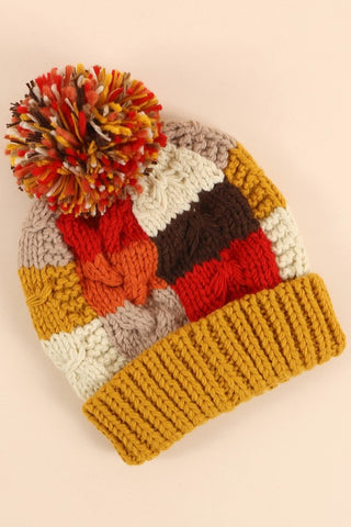 Color Block Cable Knit Hat