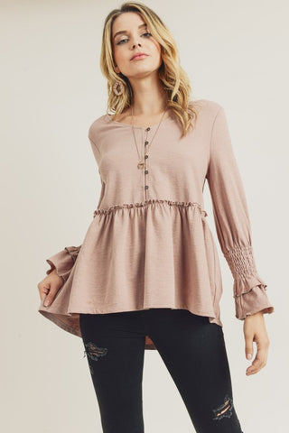 Pretty Sleeve Peplum Top