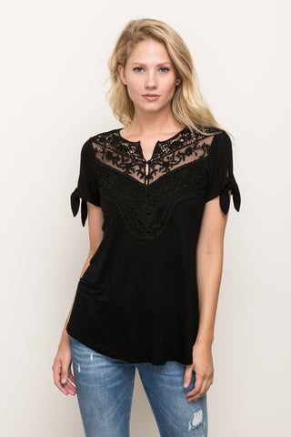Lace Accent Tie Sleeve Top