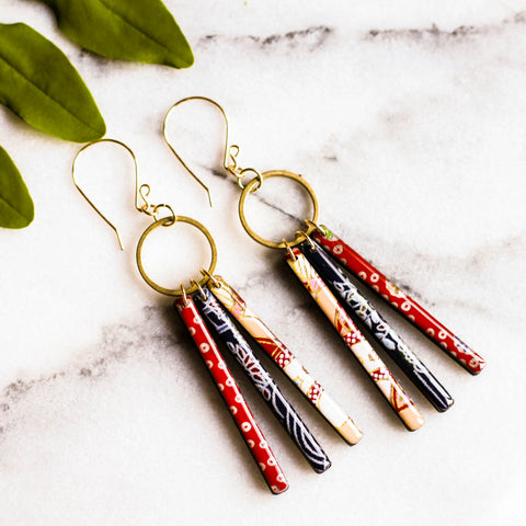 No Man's Land Artifacts - Collage Fringe Earrings - Red & Blue