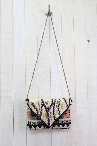 Stitched With Love Crossbody-Black & Natural