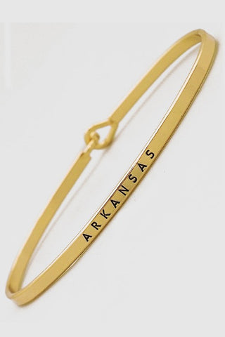 Wear Your Words On Your Sleeve Bracelet- Arkansas in Gold