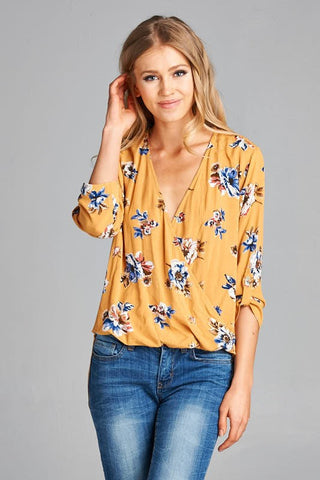 Wrap Front Floral Top-Mustard