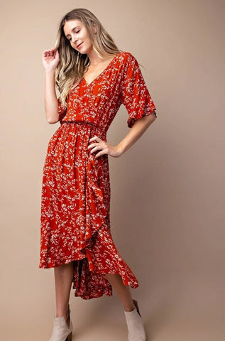 Ruffled & Flowered Midi Dress