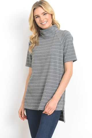 Striped Tunic With Zipper Detail