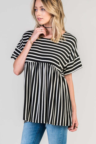 Striped Oversized Tee-Black