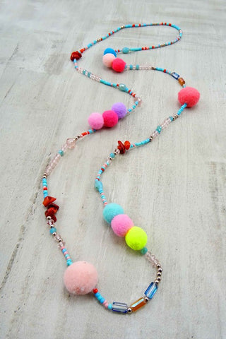 Pom Bead Necklace-Multi