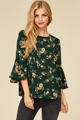 Floral Print Bell Sleeve Blouse