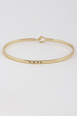 Wear Your Words On Your Sleeve Bracelet- Hope in Gold