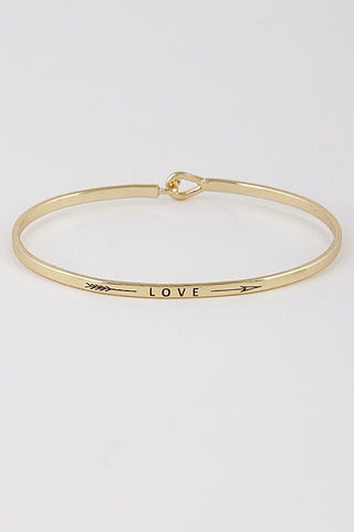 Wear Your Words On Your Sleeve Bracelet- Love in Gold