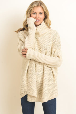 Cowl Neck Chunky Pullover Sweater