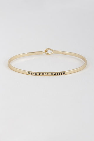 Wear Your Words On Your Sleeve Bracelet- Mind Over Matter in Gold