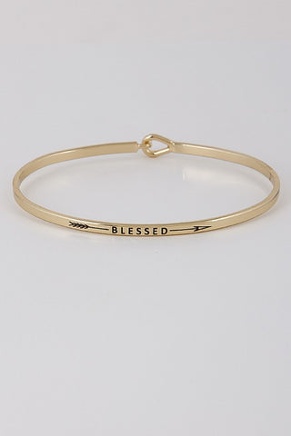 Wear Your Words On Your Sleeve Bracelet- Blessed in Gold