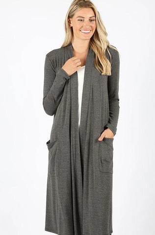 Easy Everyday Open Cardigan - Charcoal