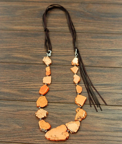 Long Orange Turquoise Slab Necklace