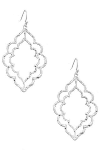 Sweet Stencil Earrings in Silver