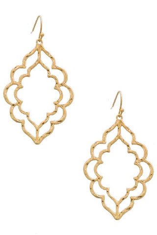 Sweet Stencil Earrings in Gold