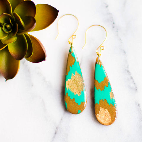 No Man's Land Artifacts - Teardrop Teal And Gold Indian Paper Earrings