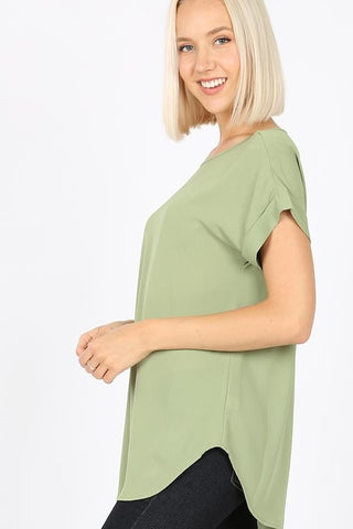Dobby Rolled Sleeve Top - Sage