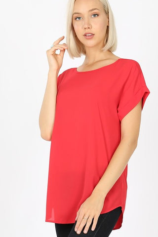 Dobby Rolled Sleeve Top - Ruby