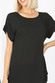 Dobby Rolled Sleeve Top - Black