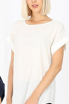 Dobby Rolled Sleeve Top - Ivory