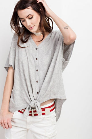 Tie It Up Top- Waffle Knit Heather Grey