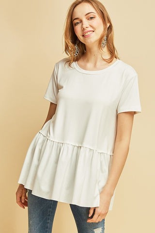 Everyday Peplum Tee-White