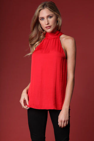 Mock Neck Satin Top