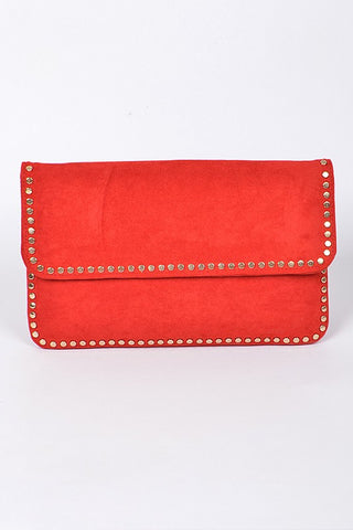 Studded in Style Clutch- Red