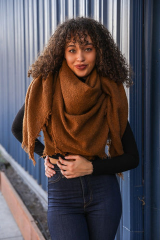 Sweet Simplicity Blanket Scarf - Camel
