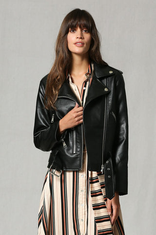 Fine Faux Leather Jacket