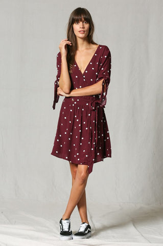 Polka Dot Front-Tie Dress