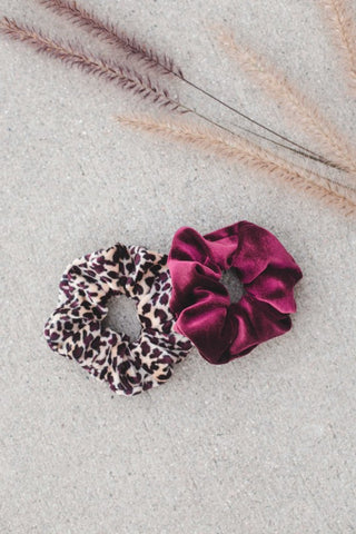Leopard Velvet Hair Scrunchie