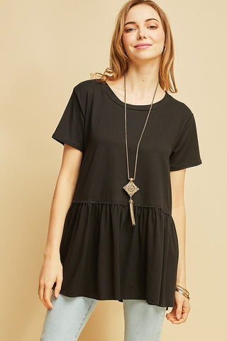 Everyday Peplum Tee-Black