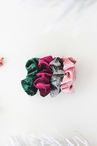 Green Striped Velvet Scrunchie