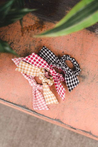 Black Checked Scrunchie