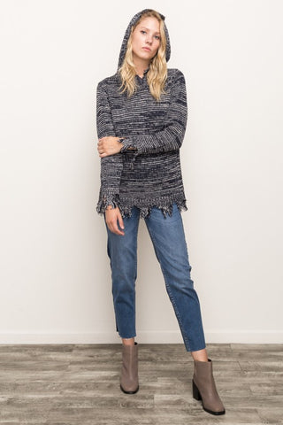 Frayed Edge Hooded Sweater