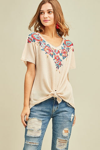 Embroidered Waffle Knit Top- Cream