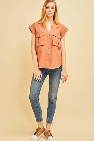 Terra Cotta Button Up