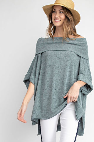 Shoulder Shaking Sweater - Faded Teal