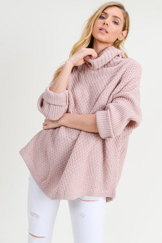 Cowl Neck Chunky Pullover Sweater - Mauve