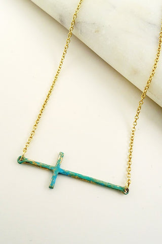 Patina Cross Necklace