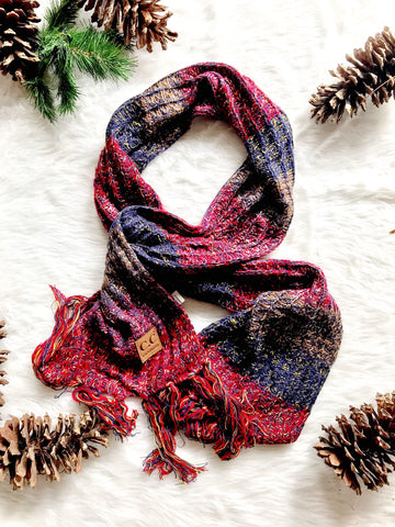 Multicolor Knit Scarf- CC Beanie- Red