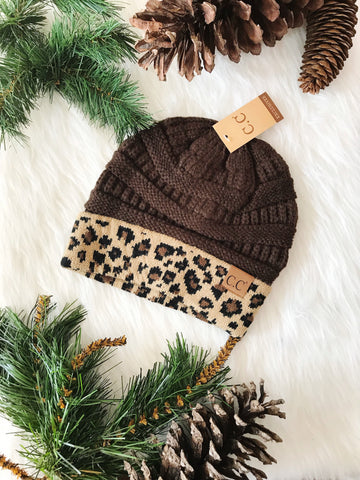 Leopard Accent Beanie-Brown