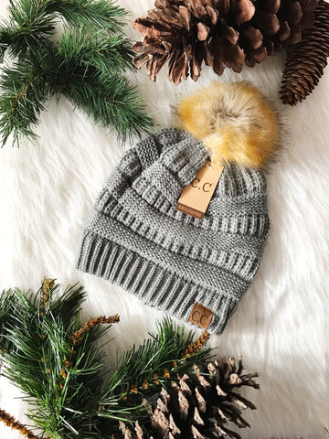 Pom Perfect CC Beanie-Natural Grey