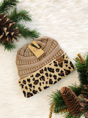 Leopard Accent Beanie- Taupe