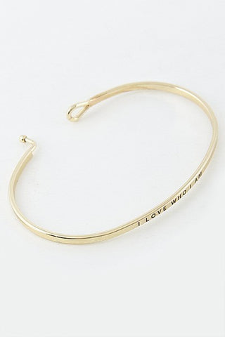 Wear Your Words On Your Sleeve Bracelet- I Love Who I Am in Gold
