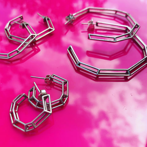 "Sterling Silver ""Strength Hoops"" - Mini"